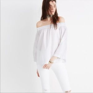Madewell White Clean Off the Shoulder Top Size XXS